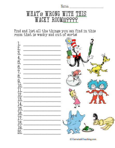 WACKY Room Worksheet